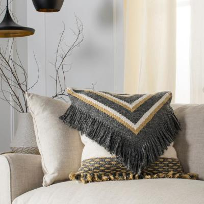 Elettra Charcoal and Gold Geometric Polyester 20 in. x 20 in. Throw Pillow