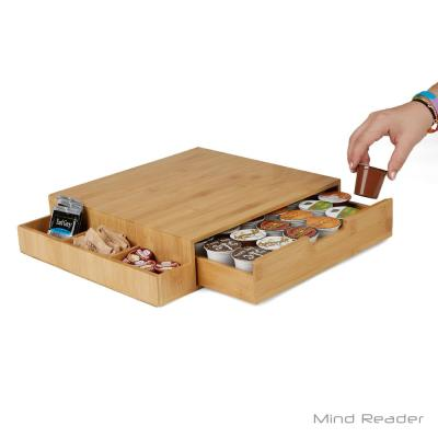 Mind Reader-36-Capacity Bamboo Brown K-Cup Storage Drawer with Side Caddy