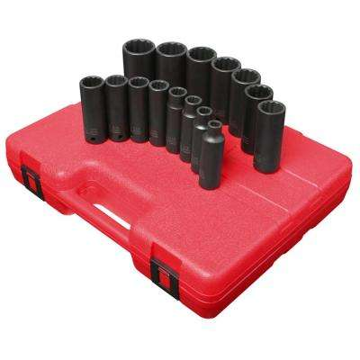 1/2 in. Drive SAE Socket Impact Set 12-Point DP (15-Piece)