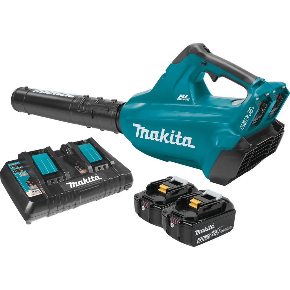 Makita 18-Volt x2 (36-Volt) LXT Lithium-Ion Brushless Cordless Blower Kit with (2) Batteries 5.0Ah and Charger