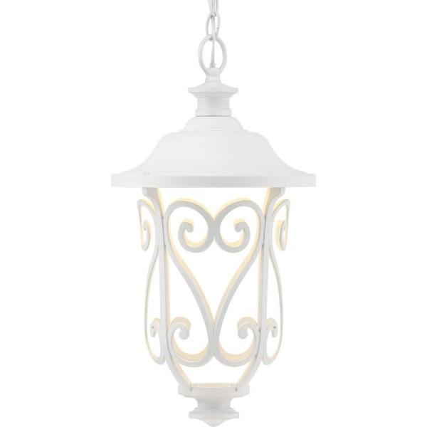 Leawood Collection White Integrated LED Hanging Lantern