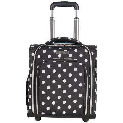 Albany Park 16 in. Black/White Polka Dot Printed 2-Wheel Underseater Carry-On Luggage