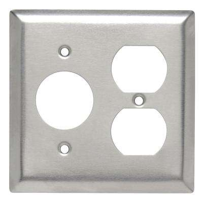 302 Series 2-Gang Single Receptacle/Duplex Combination Wall Plate, Stainless Steel