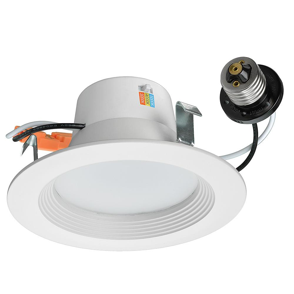 Commercial Electric 4 in. White Recessed LED Color Changing CCT ...