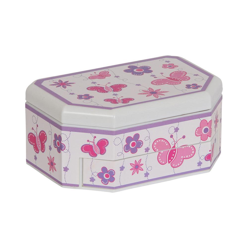 Kelsey Girl's White Plastic Musical Ballerina Jewelry Box