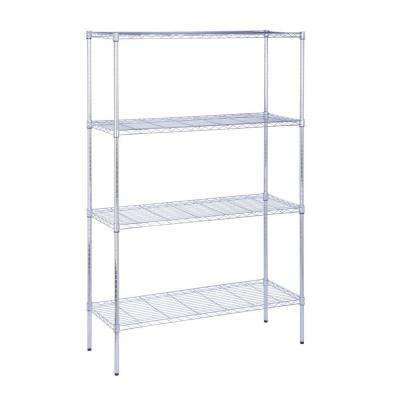 18 in L x 48 in W x 72 in H 4-Tier Steel Shelving Unit in Chrome