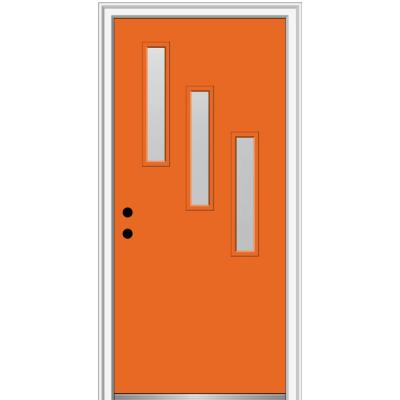 36 in. x 80 in. Davina Right-Hand Inswing 3-Lite Frosted Glass Painted Steel Prehung Front Door on 6-9/16 in. Frame