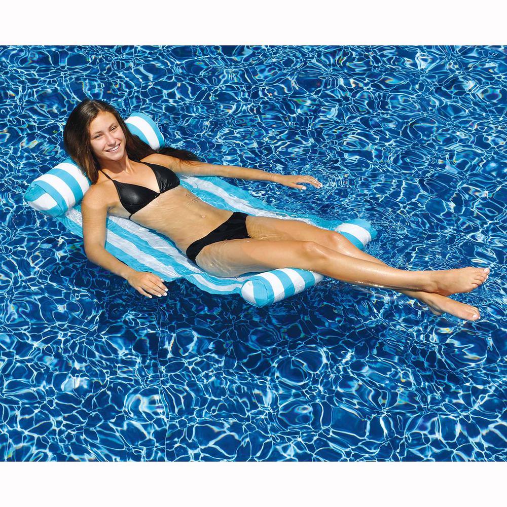 Blue White Premium Water Hammock Pool Lounger