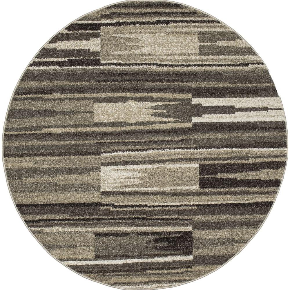 New Casa Patch Stripes Grey 7 ft. 10 in. x 7 ft. 10 in. Round Area Rug