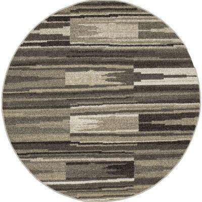 New Casa Patch Stripes Grey 8 ft. x 8 ft. Round Area Rug