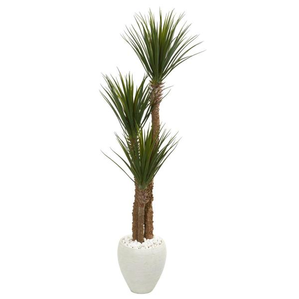 Nearly Natural 5.5 ft. Yucca Artificial Tree in White Planter 9544