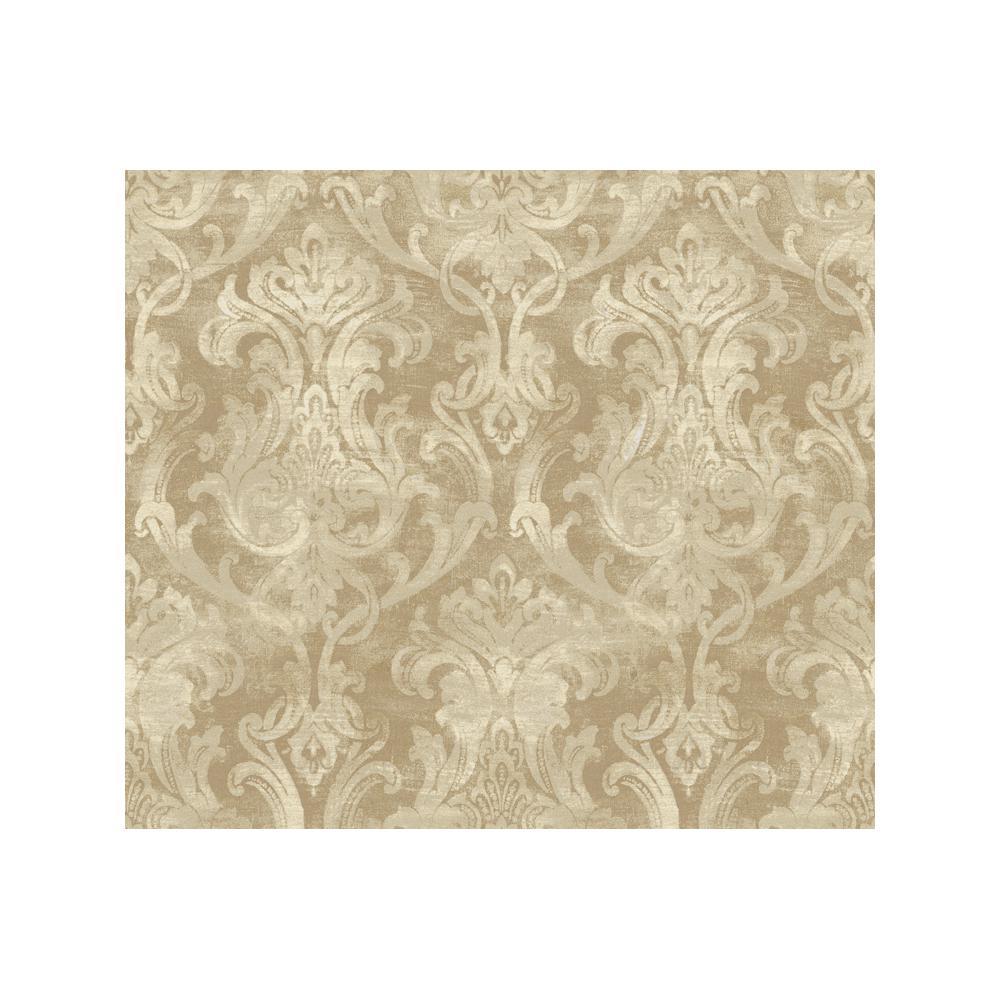 Elsa Bronze Ornate Damask Paper Strippable Roll Wallpaper (Covers 56.4 sq. ft.)