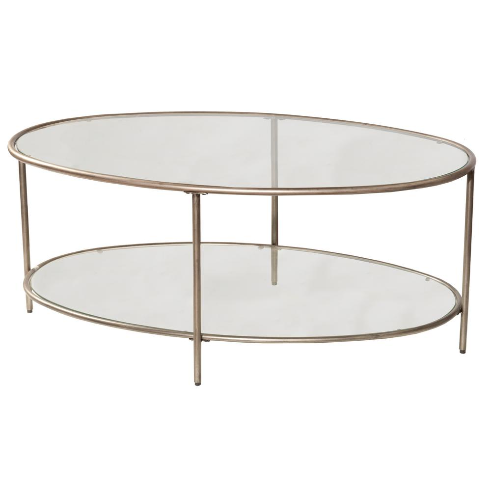 Hillsdale Furniture Corbin Silver With Black Rub Coffee Table With 2 Glass Shelves 4327 881