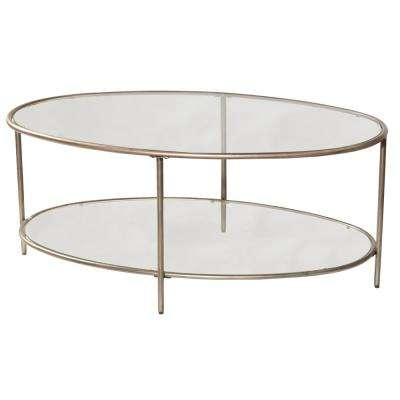 Corbin Silver with Black Rub Coffee Table with 2-Glass Shelves
