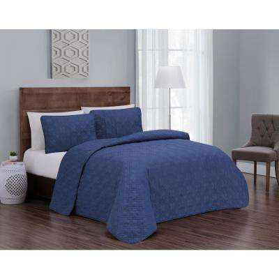 Embossed Jess Blue King Quilt Set (3-piece)