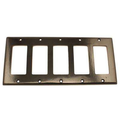 5-Gang Decora Wall Plate, Black
