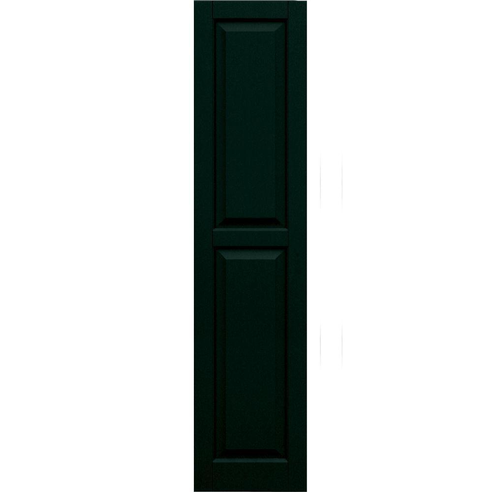 Winworks Wood Composite 15 in. x 66 in. Raised Panel Shutters Pair #654 Rookwood Shutter Green