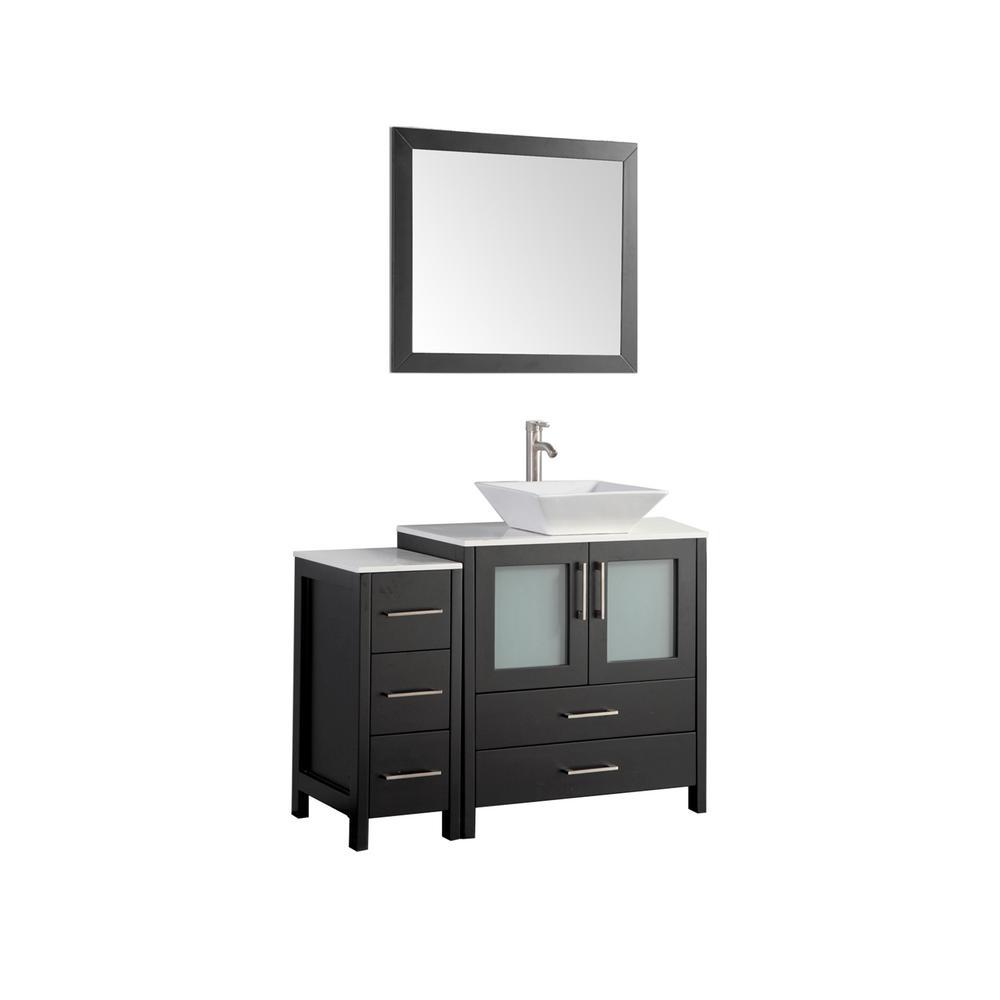 42 in. W x 18.5 in. D x 36 in. H Bathroom Vanity in Espresso with Single Basin Vanity Top in White Ceramic and Mirror