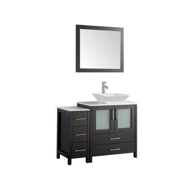 42 in. W x 18.5 in. D x 36 in. H Bathroom Vanity in Espresso with Single Basin Vanity Top in White Ceramic and Mirror