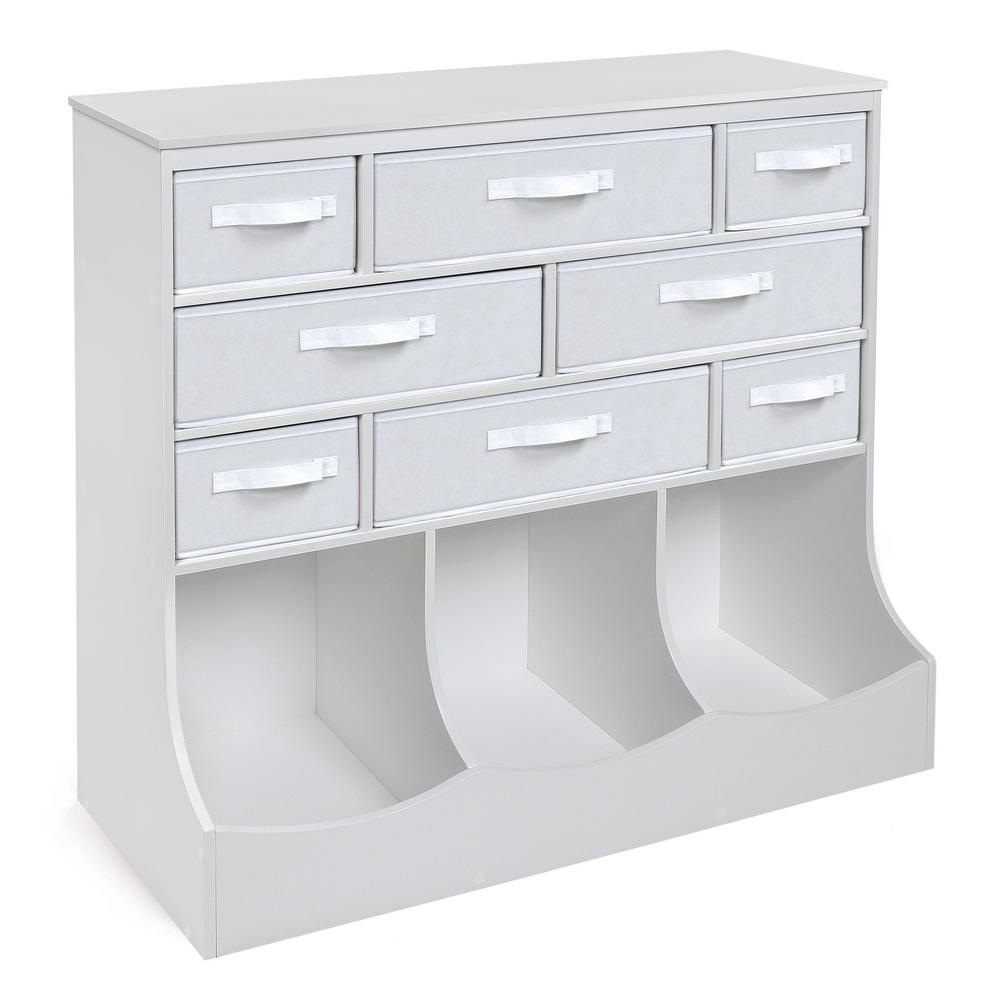 Storage Station 36.5 in. x 37 in. White 11-Cube Organizer with