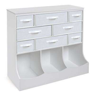 Storage Station 36.5 in. x 37 in. White 11-Cube Organizer with 8-Baskets