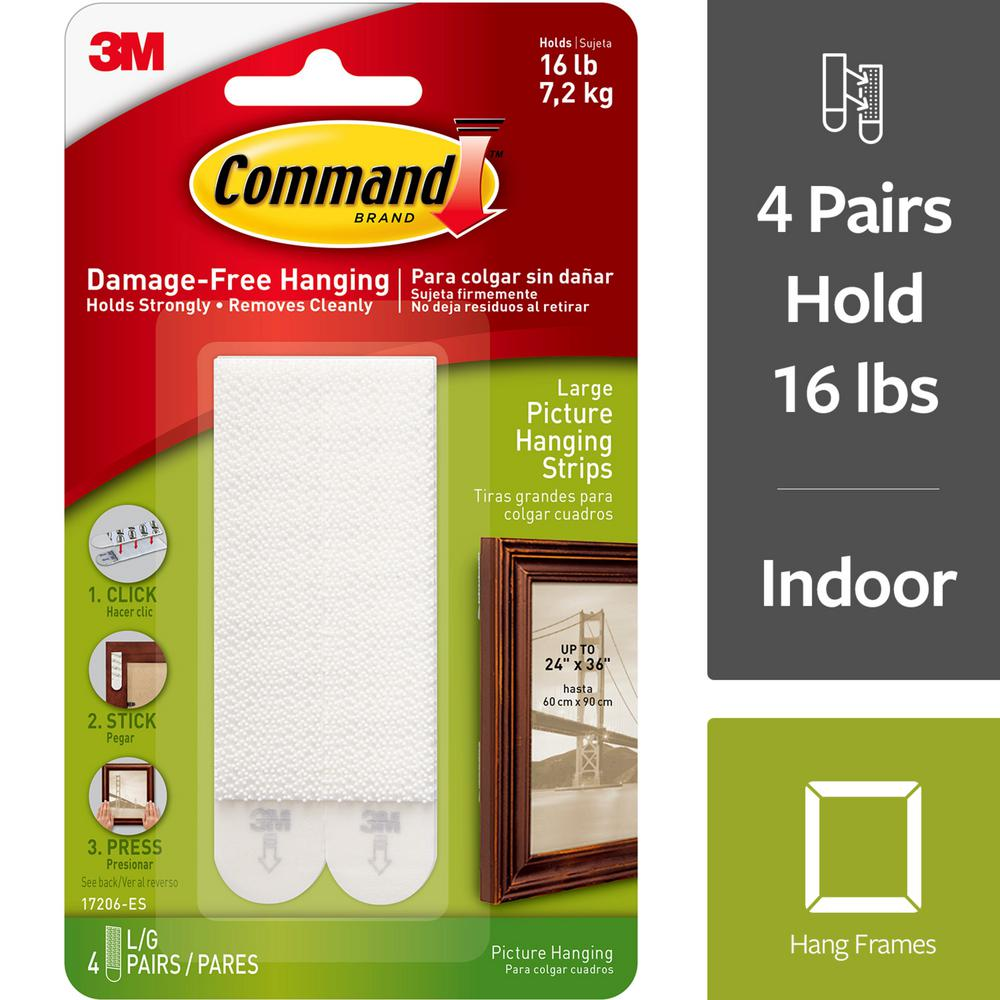 Command 4 Lbs Large White Plastic Picture Hanging Strips 4 Strips