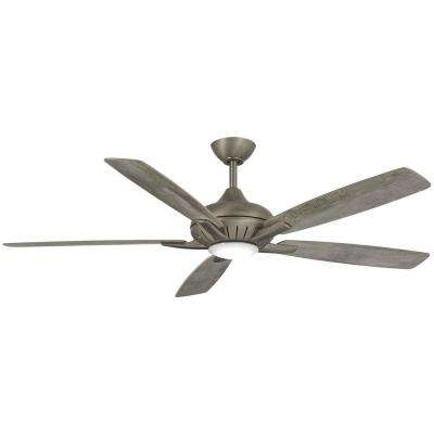 Dyno 52 in. Integrated LED Indoor Burnished Nickel Ceiling Fan with Remote Control