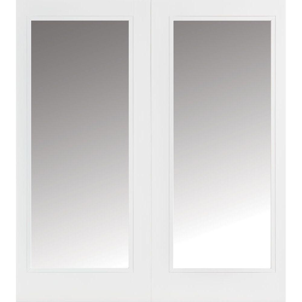 Masonite 72 in. x 80 in. Primed White Prehung Right-Hand Inswing Full Lite Steel Patio Door with No Brickmold