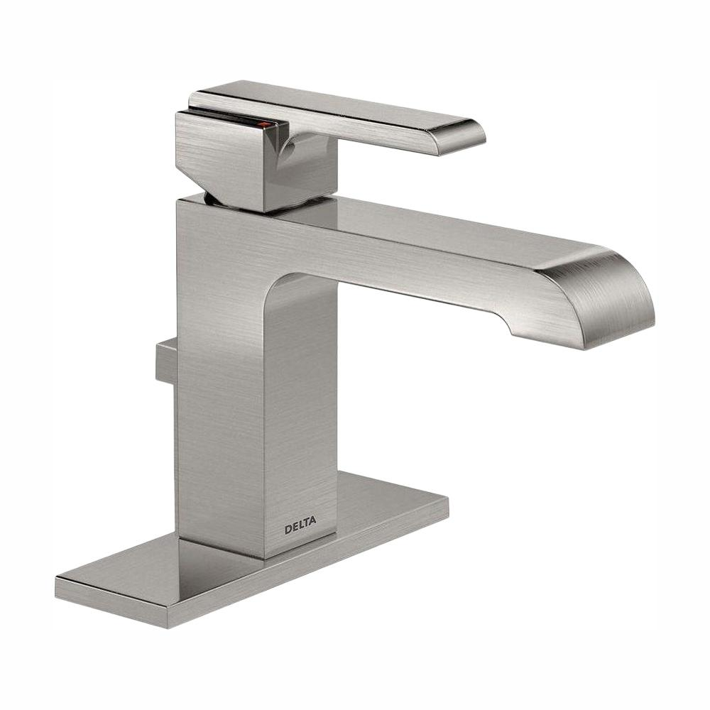 Delta Ara Single Hole Single-Handle Bathroom Faucet with Metal Drain Assembly in Stainless