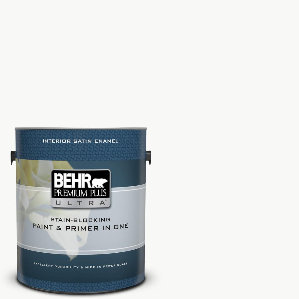BEHR Premium Plus Ultra 1 gal. Ultra Pure White Satin Enamel Interior Paint and Primer in One