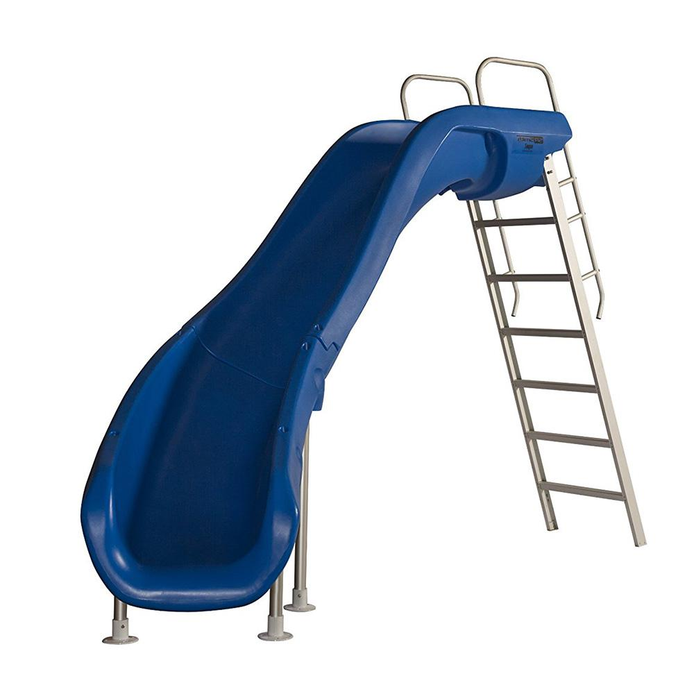 Rogue 2 Marine Blue Pool Slide with Left Turn