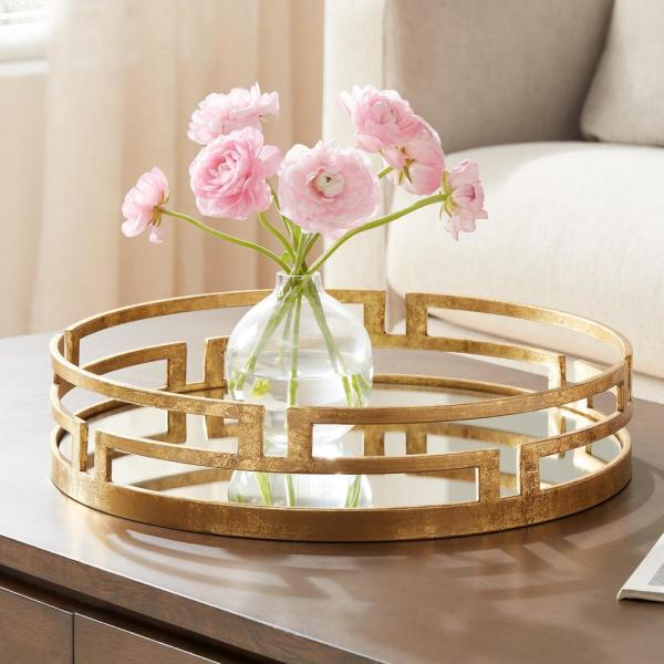 Home Decorators Collection Home Decorators Collection Gold Metal Decorative Round Mirror Tray P170318xx The Home Depot