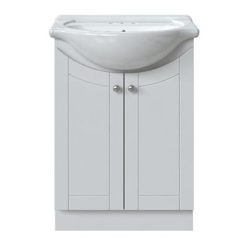 Venew 24 in. W x 17-1/8 in. D Bath Vanity in Linen White with Porcelain Vanity Top in Brilliant White with White Basin