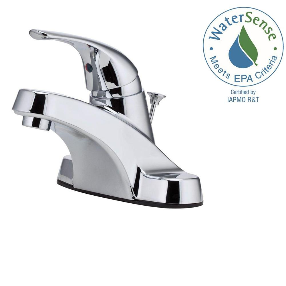 Pfister Pfirst Series 4 in. Centerset Single-Handle Bathroom Faucet in Polished Chrome
