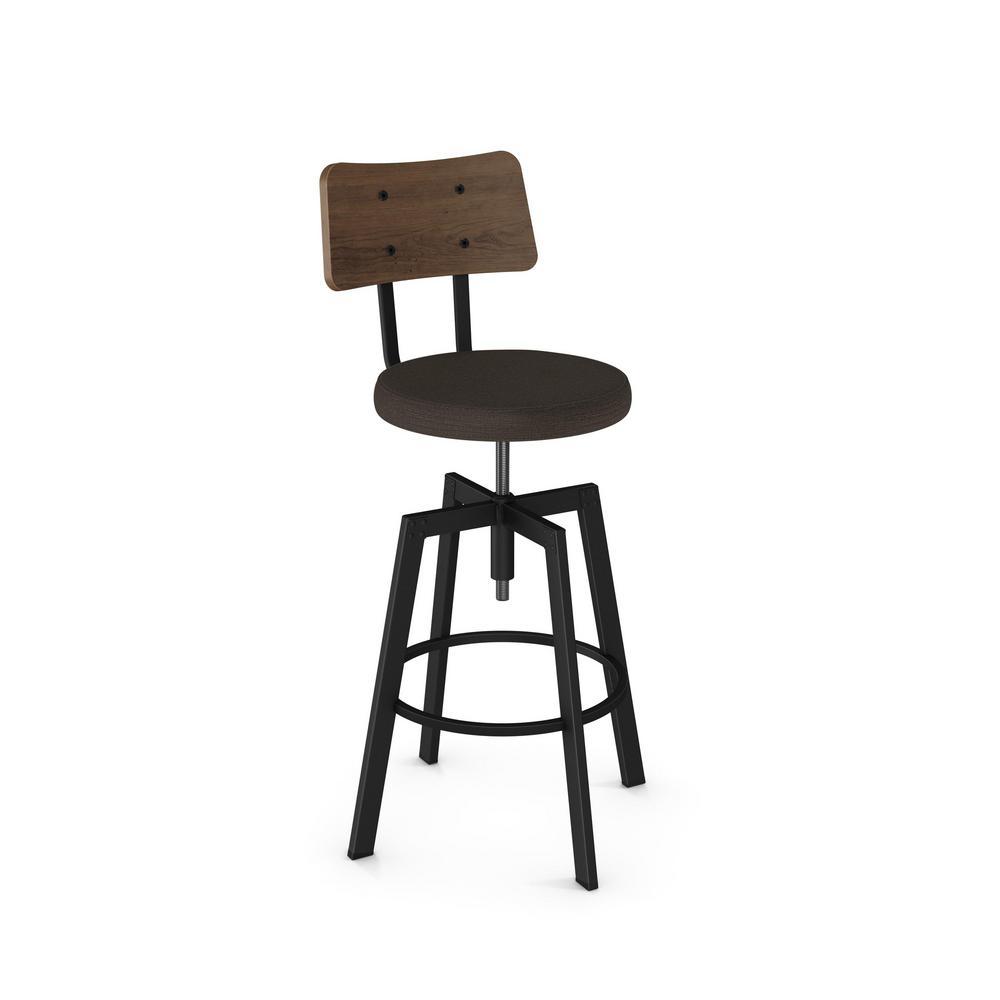 Cool Symmetry Textured Black Metal Grey Polyester Dark Brown Wood Adjustable Stool Ncnpc Chair Design For Home Ncnpcorg