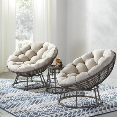 Tuckberry Papasan 3-Piece Wicker Outdoor Patio Bistro Chat Set with Putty Tan Cushion