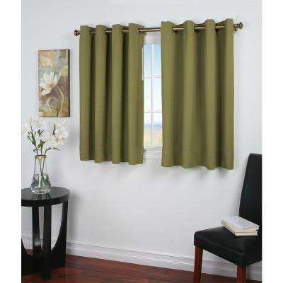 Ultimate Blackout 56 in. W x 45 in. L Polyester Short Length Blackout Window Panel in Sage