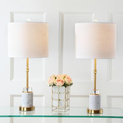 Harper 27 in. Marble/Crystal Table Lamp, Brass (Set of 2)