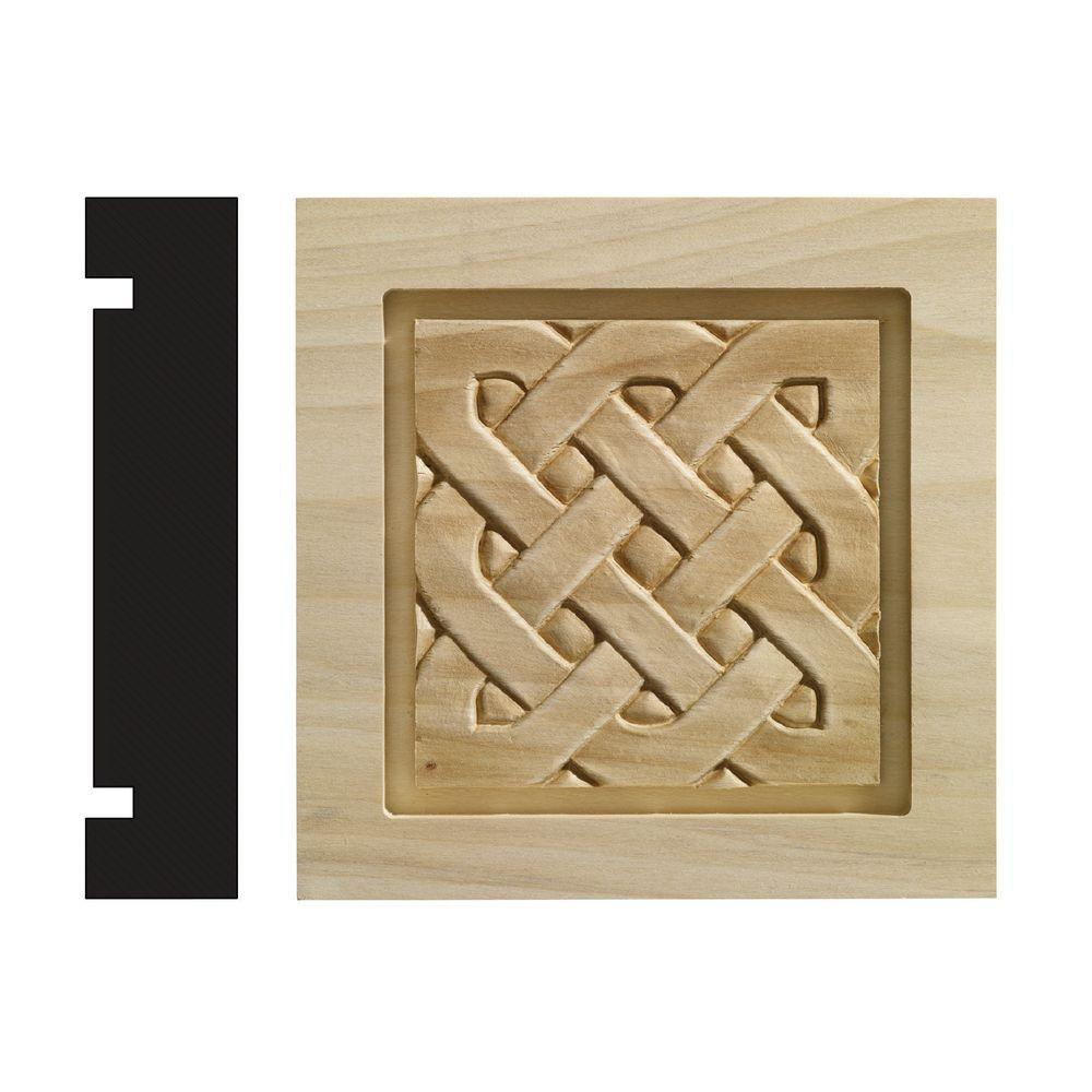 Ornamental Mouldings Celtic Collection 1-3/16 in. x 5-1/2 in. x 5-1/2 in. White Hardwood Casing Door and Window Corner Block Moulding