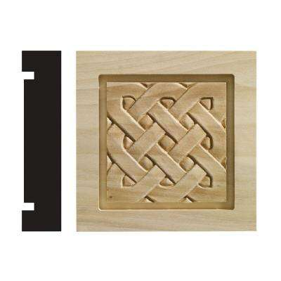 Celtic Collection 1-3/16 in. x 5-1/2 in. x 5-1/2 in. White Hardwood Casing Door and Window Corner Block Moulding