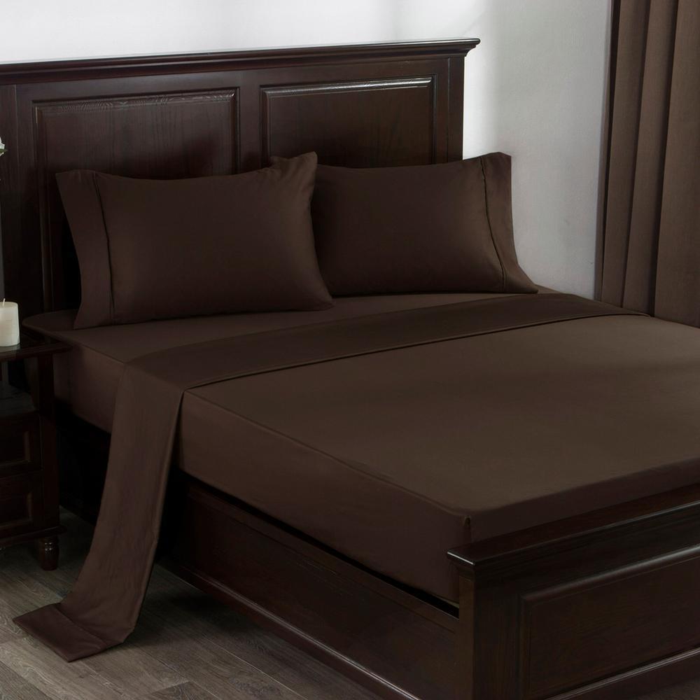 Puredown 300 Thread Count 100 Cotton Satin Weave 4 Piece Bed Sheet Set King