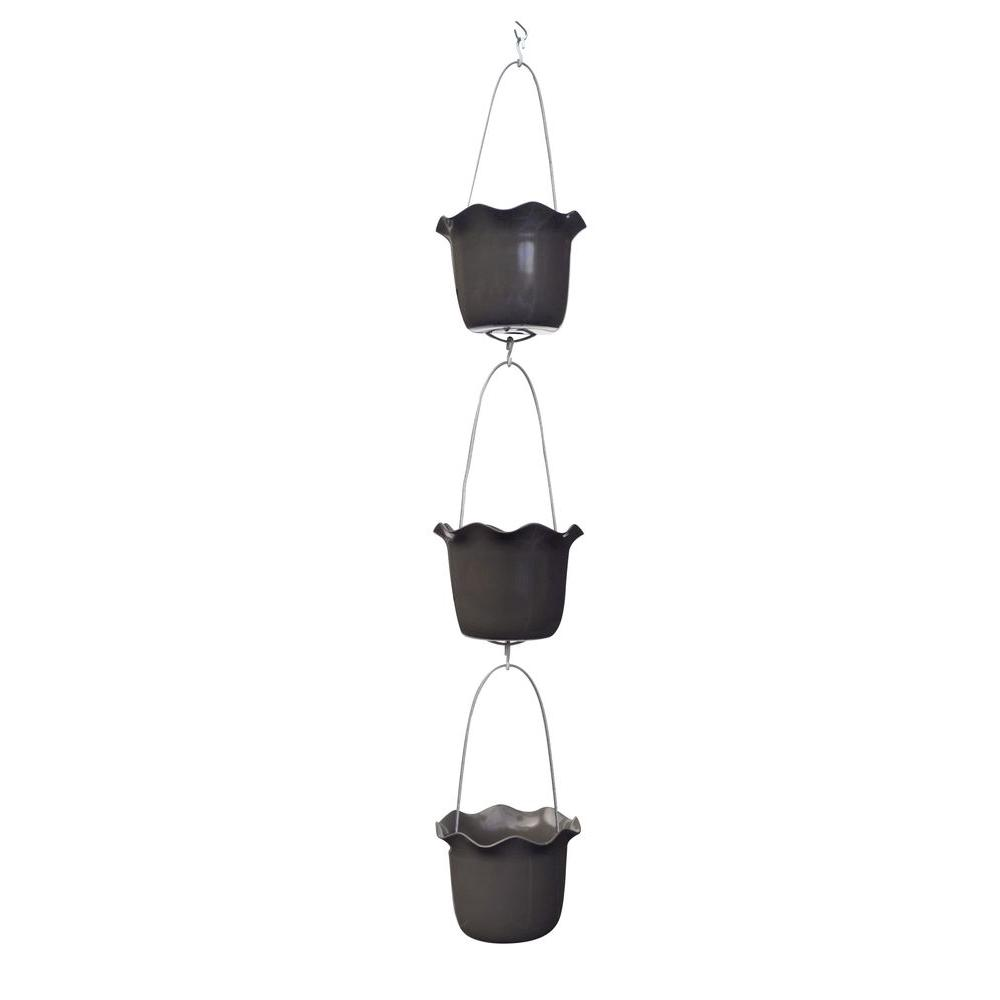 7 in. Plastic Turkish Coffee Rain Chain-Style Vertical Planter