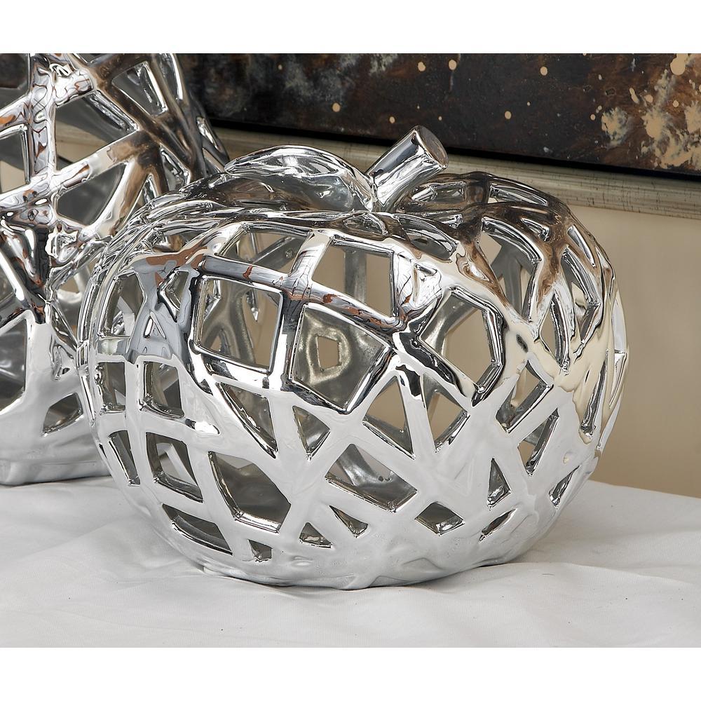9 in. x 8 in. Natural Silver Woven Ceramic Apple