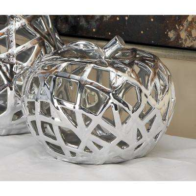 9 in. x 8 in. Natural Silver Woven Ceramic Apple