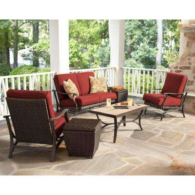 Pembrey 4-Piece All-Weather Wicker Patio Conversation Set with Chili Cushions