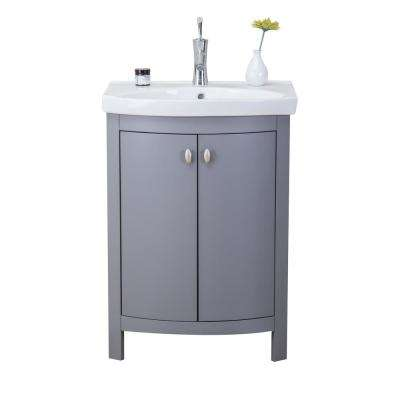 Jersey 24.50 in. W x 19 in. D x 3.50 in. H Vanity in Gray with Porcelain Top in White with White Basin