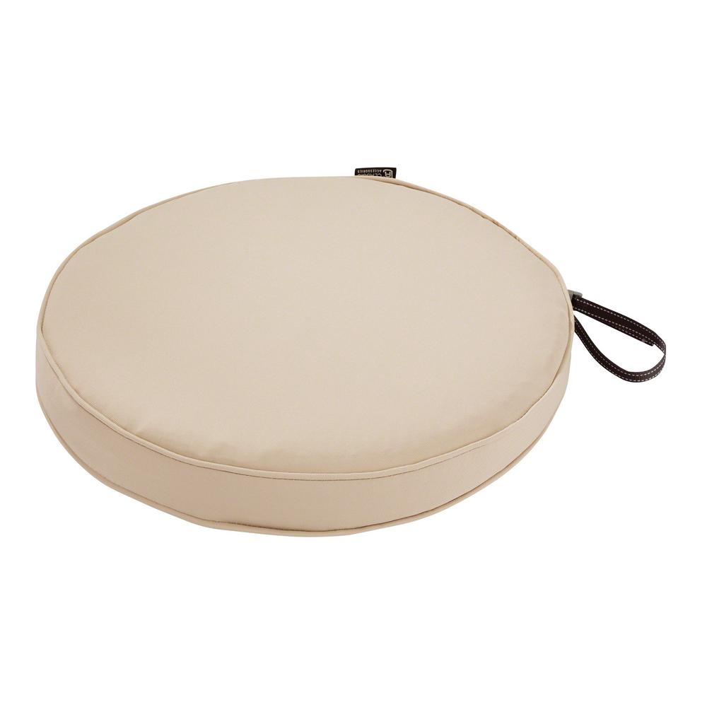 Montlake Fade Safe Antique Beige 15 in. Round Outdoor Seat Cushion