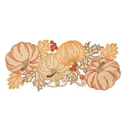 0.1 in. H x 16 in. W x 36 in. D Pumpkin Party Embroidered Cutwork Table Runner