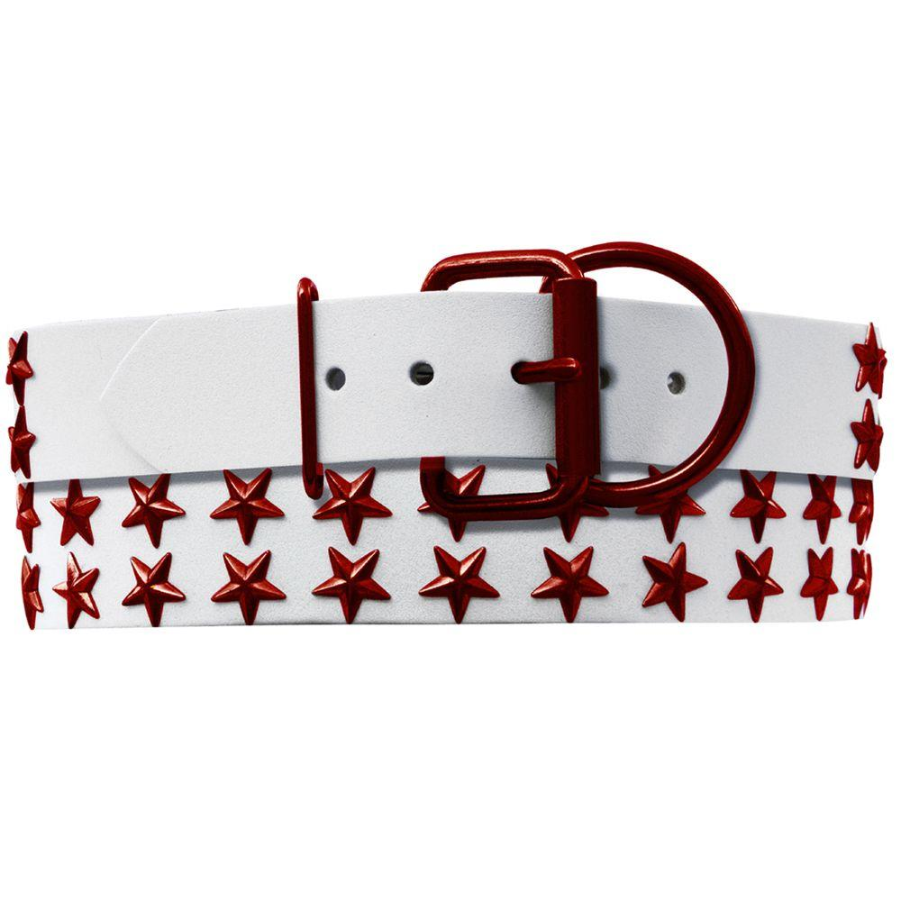 Platinum Pets 29 in. White Genuine Leather Dog Collar in Red Stars