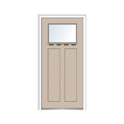 32 in. x 80 in. Left-Hand Inswing 1-Lite Clear 2-Panel Shaker Painted Fiberglass Smooth Prehung Front Door with Shelf